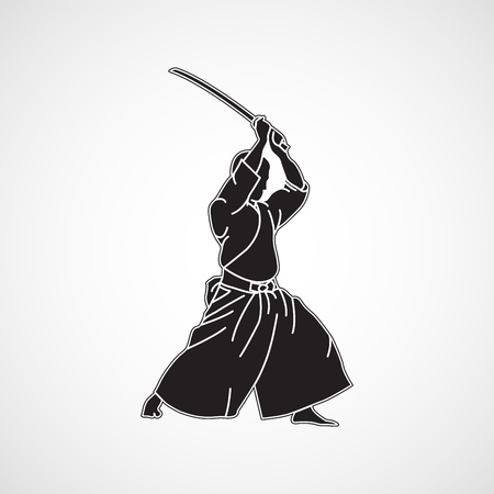 Iaido vector pictogram illustratie Stock Illustratie