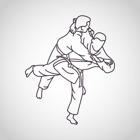 Judo vector icon illustration