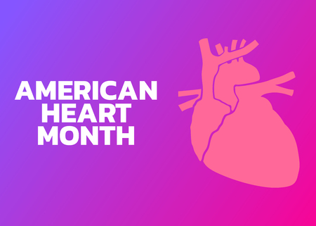 American heart month icon with heart vector illustration.
