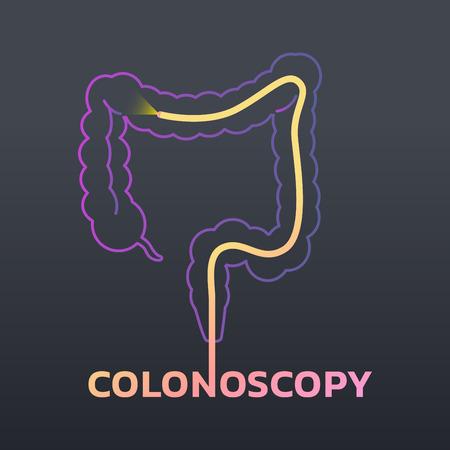 Ilustração do projeto do vetor do ícone da colonoscopia no fundo preto.