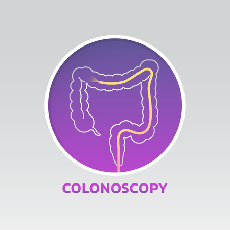 Colonoscopy icon vector design illustration on gray background.