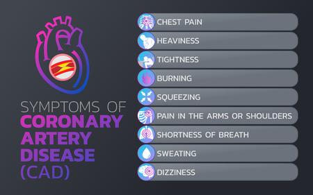Symptoms of coronary artery disease (CAD) icon design, info-graphic health, medical info-graphic. Vector illustration.