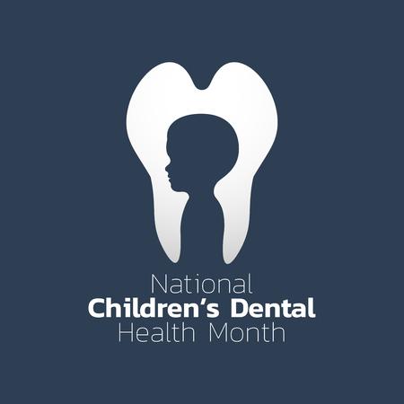 Nationale kinderen tandgezondheid maand pictogram ontwerp. Pictogram vectorillustratie.
