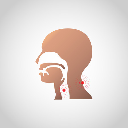 Pain in the throat and neck icon design. Vector illustration.