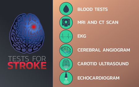 Tests for stroke icon design, info-graphic health, medical info-graphic. Vector illustration.