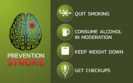 Prevention for stroke icon design, info-graphic health, medical info-graphic. Vector illustration. Иллюстрация