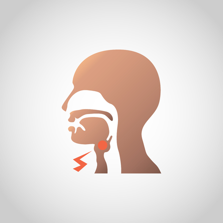 Swollen lymph nodes in the neck icon design. Vector illustration. Illustration
