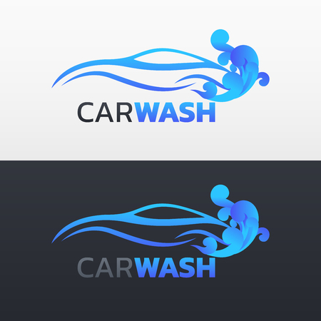 Car wash service logotype vector design in two different background 일러스트