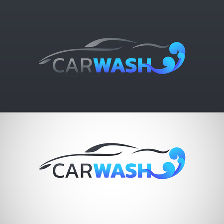 Abstract car wash service logotype vector illustration in two different black and white background design