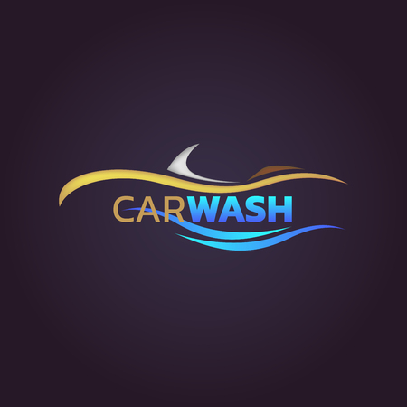 Abstract car wash service logotype vector illustration on black background design