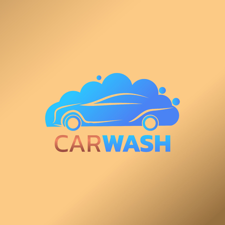 Abstract car wash service logotype vector illustration on peach background design