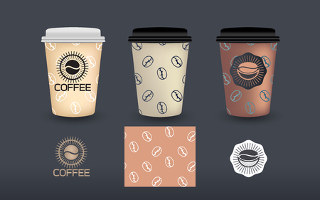 Collection set of coffee packaging label design template, Vector illustration