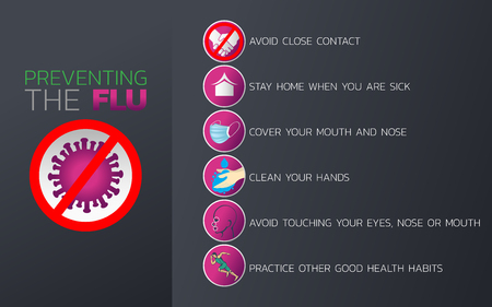 Preventing the Flu icon design, infographic health, medical infographic. Vector illustration