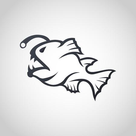 Anglerfish logo icon design, vector illustration.