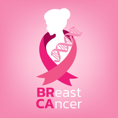 Breast cancer awareness icon design on pink background vector illustration Illustration