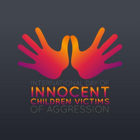 Diseño del icono del logotipo del Día Internacional de Niños Inocentes Víctimas de Agresión, ilustración vectorial.