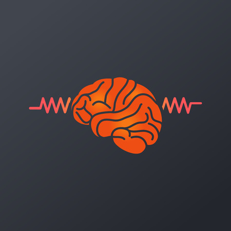 Brain with waves vector icon