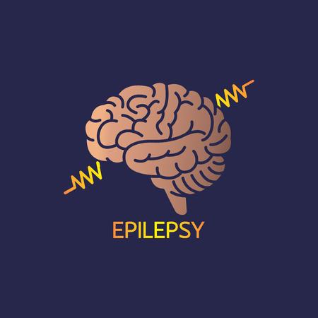 Epilepsy symbol with brain vector illustration Illustration