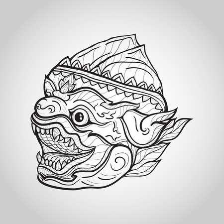 Hanuman head vector illustration Illustration