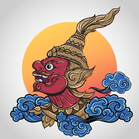 ramayana giant thailand art, Vintage traditional Thai style, vector illustration.