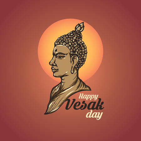 Illustration Of Happy vesak Day Or Buddha Purnima Background, Vector Illustration.