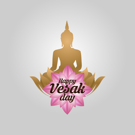 Illustration Of Happy vesak Day Or Buddha Purnima Background, Vector Illustration.
