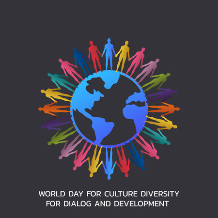 World Day for Culture Diversity for Dialog and Development, Vector Illustration.  Stock Illustratie