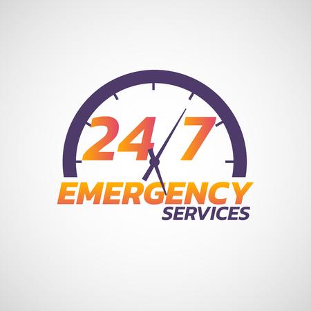 Icône des services d'urgence 24/7. Illustration vectorielle