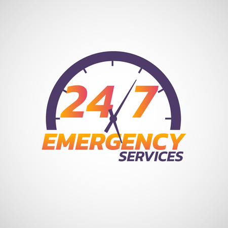 24/7 emergency services  icon. Vector illustration