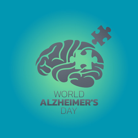 Creative illustration,poster or banner of World Alzheimers day. Illustration