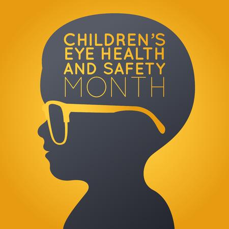 Children Eye Health and Safety Month icon illustration