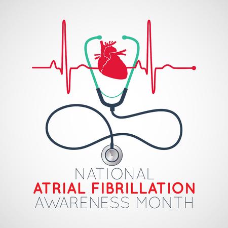 National Atrial Fibrillation Awareness Month   icon illustration