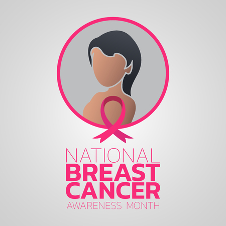 National Breast Cancer Awareness Month vector logo icon illustration Çizim