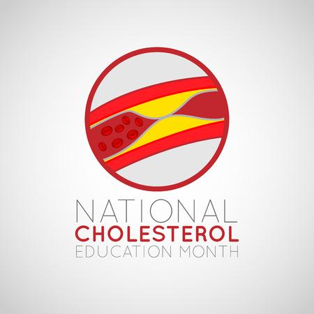 Illustration de l'icône du logo national du mois de l'éducation sur le cholestérol