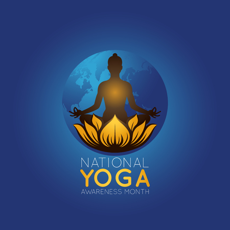 National Yoga Awareness Month vector logo icon illustration