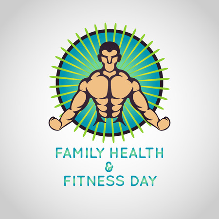 Family Health and Fitness Day vector logo icon illustration