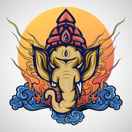 ganesha tattoo icon design, vector illustration