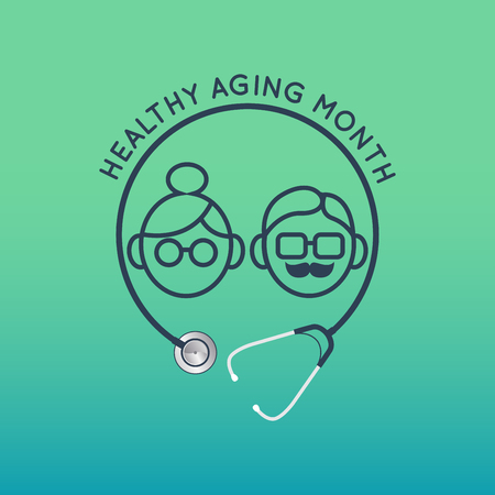 Healthy Aging Month vector   icon illustration