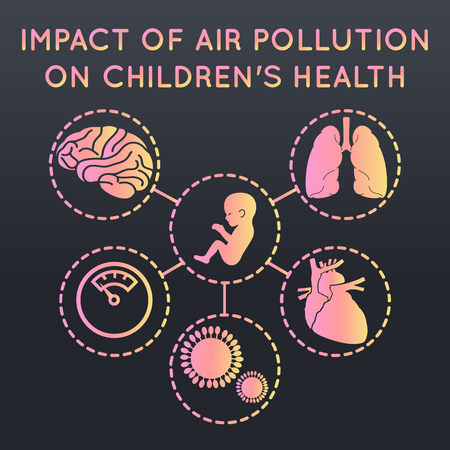 air pollution on childrens health logo icon design, medical vector illustration Çizim