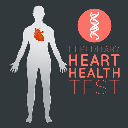 Hereditary Heart Health Test logo icon design, medical vector illustration