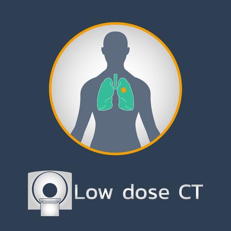 Création d'icône de logo CT Scan à faible dose, illustration vectorielle médicale