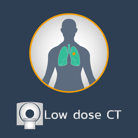 Low Dose CT Scan logo icon design, medical vector illustration Ilustração