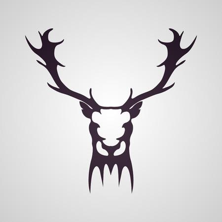 Deer head tattoo logo icon design, vector illustration