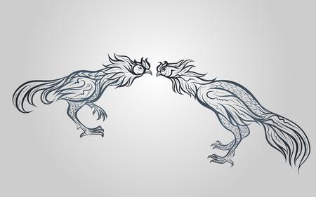 Walka koguta wektor logo ikona ilustracja