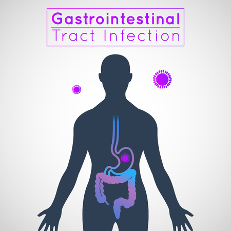 gastrointestinal tract infection infographic icon design, medical vector illustration Çizim