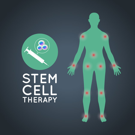 stem cell therapy logo icon design, medical vector illustration Çizim