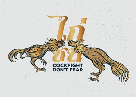 Cockfight, Thai rooster fight illustration with text. Graphics for t-shirt prints and other uses. Vector Illustration