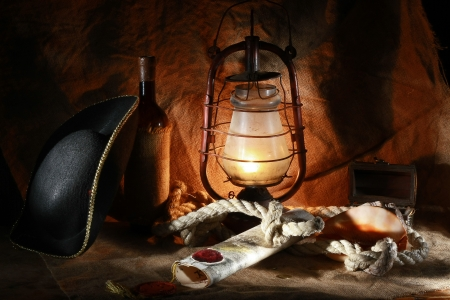 sinks: Pirate of the still life of wine, hats, ropes, sinks, fixtures, maps