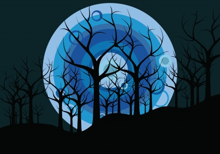 tranquil scene on urban scene: night landscape  trees against the background of the moon Illustration