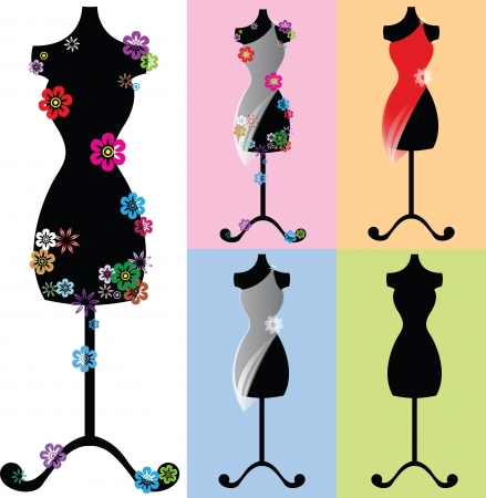 dress form: a set of mannequins  dummies  decorated with flowers
